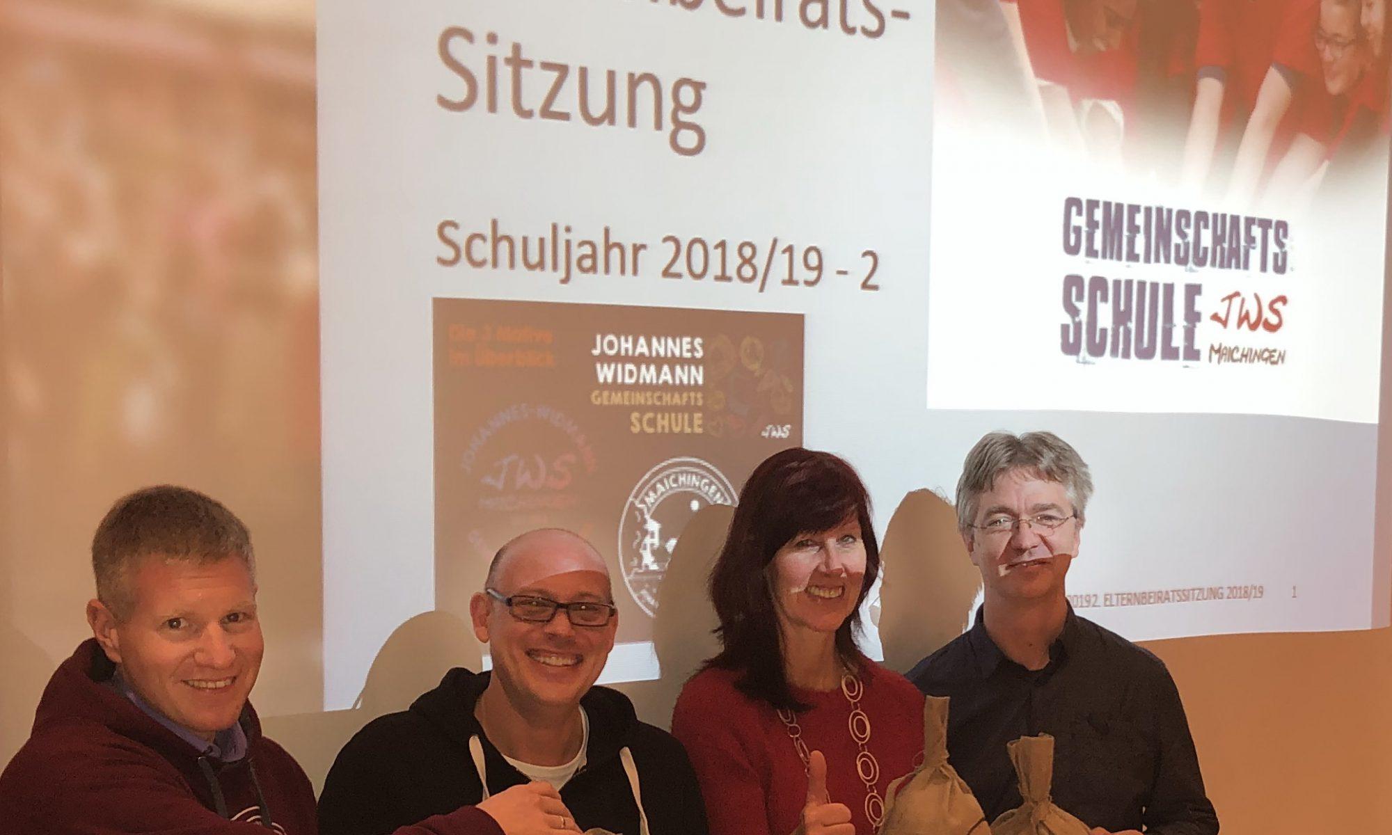 "Spende an Förderverein ""Schule Aktiv"" der Johannes-Widmann-Schule Maichingen (18.03.2019). (v.l.n.r.: Ulrich Martens, Alexander Döttling, Konrektorin Sabine Lalla, Schulsozialarbeiter Thoralf Stöhrer)"
