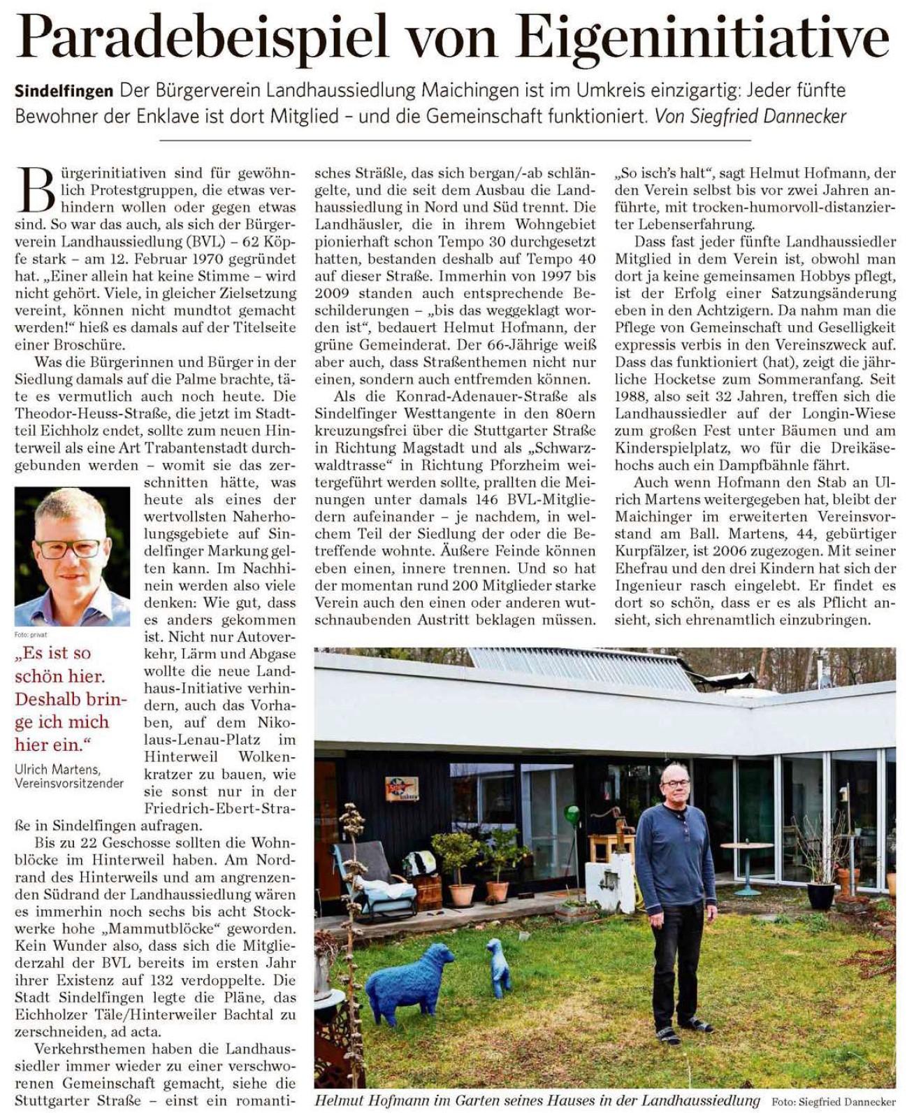 Bericht über 50 Jahre BVL (Stuttgarter Zeitung, 05.02.2020)